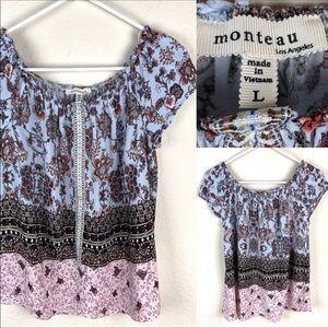 Monteau off the shoulder, peasant style blouse.